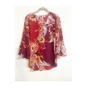 C'Est 1946 bell sleeve paisley blouse Sz S